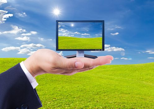 LCD Monitor in hand isolated