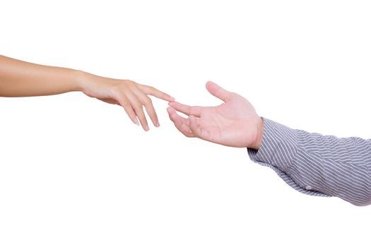 man and woman touching fingers isolated on  white background