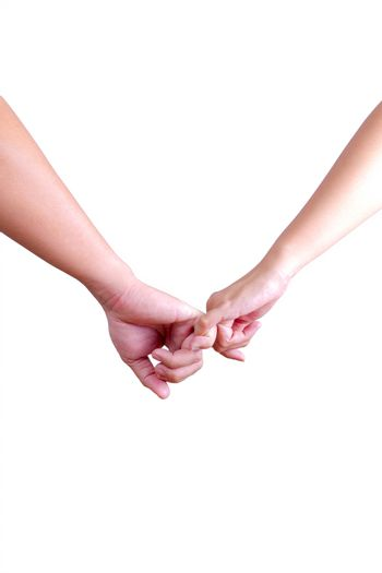 man and womam holding hands isolated on white background