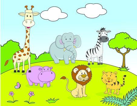 vector illustration of Safari animals