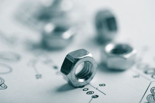 nuts over technical drawing