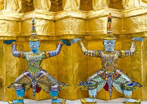 Guardians Surrounding Temple, Golden Pagoda at Wat Phra Kaew