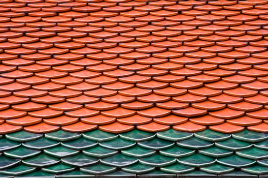 Red and Green tiles roof, architecture background.
