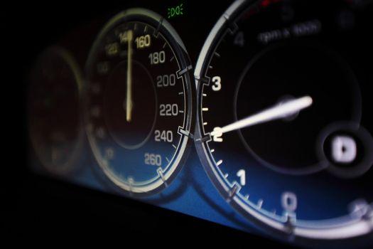 speedometer in car close up