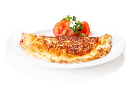 Omelet with herbs and tomatoes