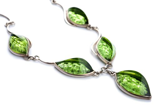 green amber necklace isolated