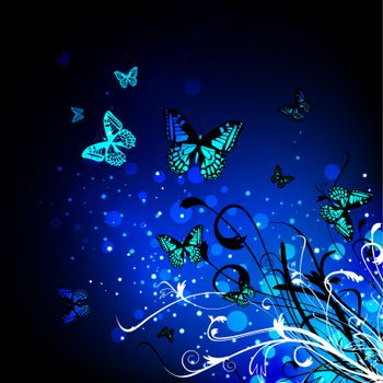 Bright Butterfly floral magic background in blue