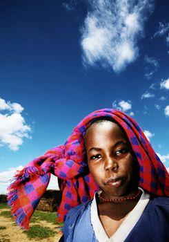 Poor African child outdoor portrait