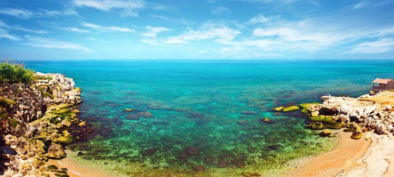 Panoramic blue lagoon