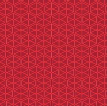 Red abstract vector pattern of parallelepipeds