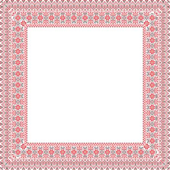 A square frame with an ornament in the Ukrainian style - vector