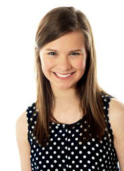 Closeup of cute teenager smiling