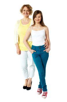 Full length portrait of mum and daughter
