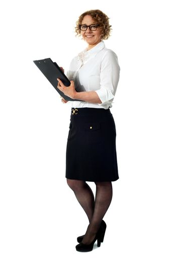 Businesswoman with a document folder
