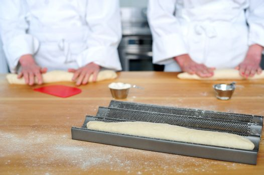 Rolling the dough with hands