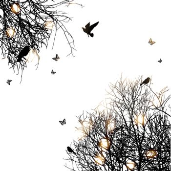 silhouette of trees and birds, copyspace