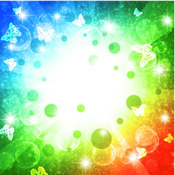 holiday bright multicolored background with stars and Butterflies