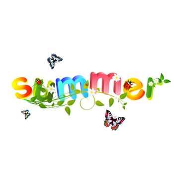 Summer theme with floral over white background