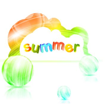 Summer theme in abstract banner over white background