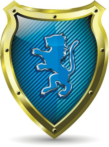 illustration of an abstract metallic shield with a lion