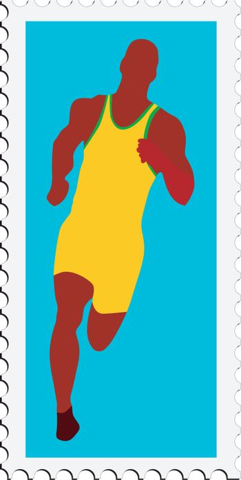 stamp with image of athletics