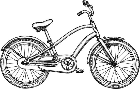 Ancient bicycle - vector rough black-and-white drawing