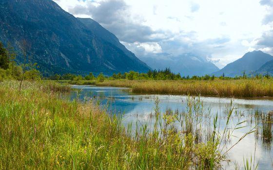 calm alpine lake
