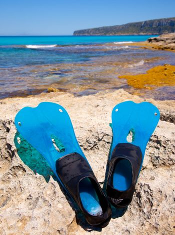 Balearic Formentera island with scuba diving fins