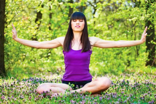 yoga relaxation in forest