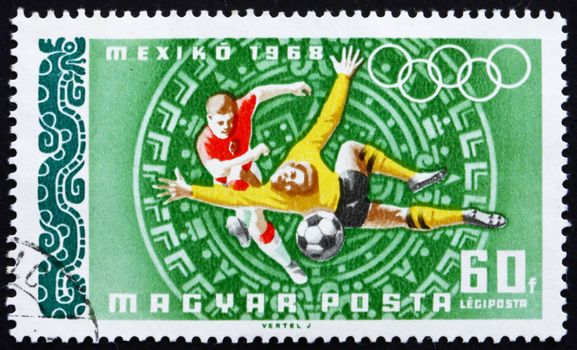 HUNGARY - CIRCA 1968: a stamp printed in the Hungary shows Football, Summer Olympic sports, Mexico 68, circa 1968