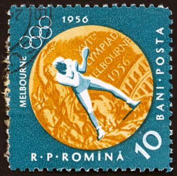 ROMANIA - CIRCA 1961: a stamp printed in the Romania shows Boxing, Summer Olympic sports, Melbourne 56, circa 1961