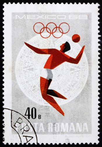 ROMANIA - CIRCA 1968: a stamp printed in the Romania shows Volleyball, Summer Olympic sports, Mexico 68, circa 1968