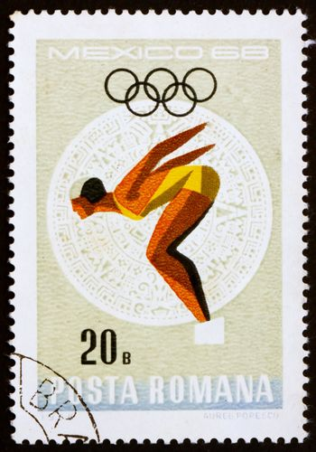 ROMANIA - CIRCA 1968: a stamp printed in the Romania shows Woman Diver, Summer Olympic sports, Mexico 68, circa 1968