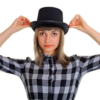 Portrait of a girl in a black silk hat, isolated on white background