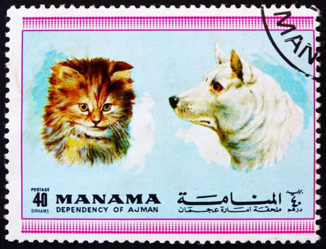 MANAMA - CIRCA 1972: a stamp printed in the Manama shows Dog and Cat, Pets, circa 1972