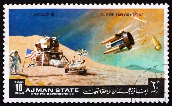 AJMAN - CIRCA 1972: a stamp printed in the Ajman shows Moon-landing, Apollo 15, Mission to the Moon, circa 1972