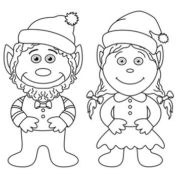 Gnomes, boy and girl, outline