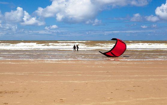 Kitesurfing (kiteboarding) in North sea