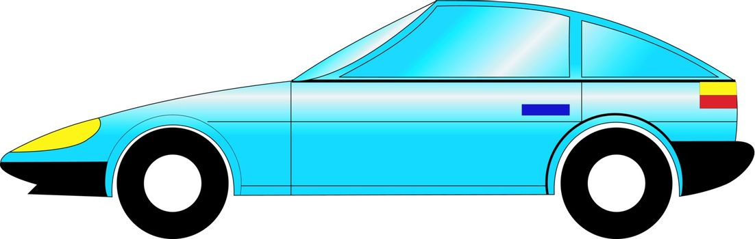 a cartoon stylish illustration of sports car