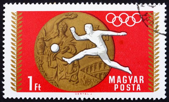 HUNGARY - CIRCA 1969: a stamp printed in the Hungary shows Soccer, Football, Summer Olympic sports, Mexico 68, circa 1969