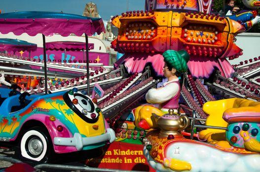 Carousel or Merry-go-round for children on funfair
