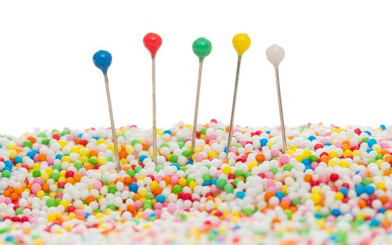 Straight pins in candy