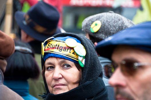 Stuttgart - Jan 29, 2011: Demonstration against S21 plans