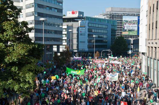 Stuttgart - Oct 09, 2010: Demonstration against S21 project
