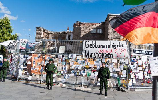 STUTTGART - AUGUST 28: Demonstration against the S21 plans
