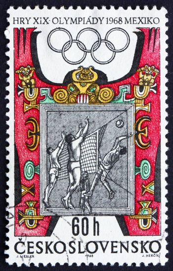 CZECHOSLOVAKIA - CIRCA 1968: a stamp printed in the Czechoslovakia shows Volleyball and Mexican Ornaments, Summer Olympic sports, Mexico 68, circa 1968
