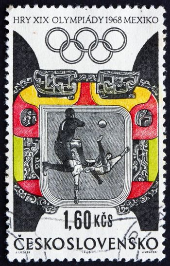 CZECHOSLOVAKIA - CIRCA 1968: a stamp printed in the Czechoslovakia shows Soccer, Football, Ornaments, Summer Olympic sports, Mexico 68, circa 1968