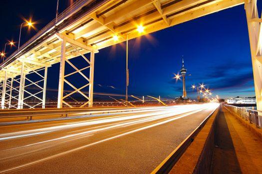 highway under the bridge in macao