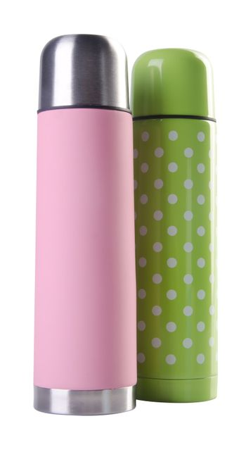 Thermo flask on the white background