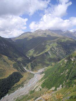 Caucasus mountains on the territory of Georgia
